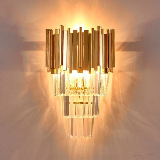 Luna Lighting Modern Kristal Taşlı Gold Aplik