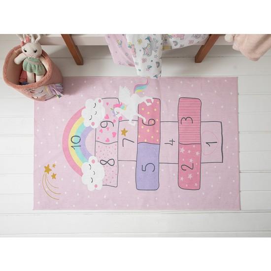 English Home Unicorn Şönil Çocuk Halısı 90 x 140 cm Pembe