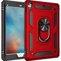 Caseart Apple iPad 6 2017 Military Yüzüklü Stantlı Tam Koruma Tank Tablet Kılıf - Kırmızı