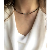 Serpil Jewellery 925 Ayar Gümüş Ince Renkli Akik Doğaltaş Kolye 2mm