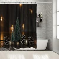 Henge Baskılı Duş Perde Yılbaşı Noel Süs Ağacı ile Çam Kozalakları Parlak Süslü 175cm X 200cm
