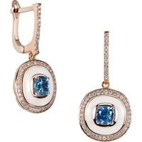 Clavis Jewelry Mineli, Blue Topaz ve Pırlantalı Küpe