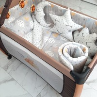 Babyte Bebek Uyku Seti 70X110 Park Beşik Pamuk 10 Parça Sarı Gri Bulut