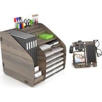Design Otto Fx XL Modest A4 Evrak Rafı Masaüstü Organizer Ceviz