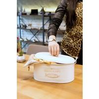 Kitchen Chef Lüx Metal Büyük Boy Kapaklı Desenli Beyaz Ekmeklik