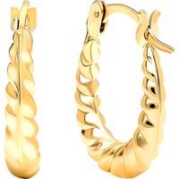 Gelin Pırlanta 14 Ayar Altın Halka Küpe - 1.4 cm