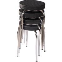 Ekip Metal Tabure Mutfak Sandalyesi 4 Adet Siyah