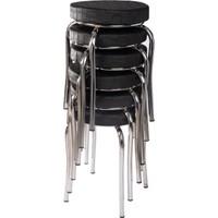 Ekip Metal Tabure Mutfak Sandalyesi 6 Adet Siyah