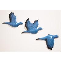 Antioch Artdesign Üçlü Güvercin Duvar Süsü Üçlü Kuş Ev Dekor Bahçe Balkon Teras Süsü Hediyelik Aksesuar