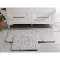 English Home Sheep Polyester Banyo Paspası Seti 50X80 - 45X50 cm Açık Gri