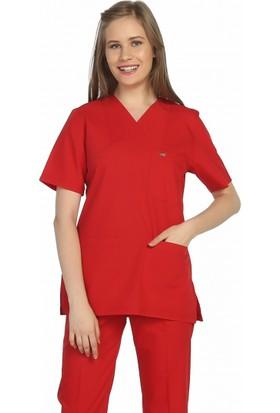 TıpMod Kırmızı Terikoton Doktor ve Hemşire Forması