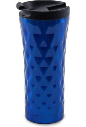 Medusa A14-3 Karo Desenli Mug Bardak Termos Mavi
