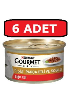 Purina Gourmet Gold Parça Etli Sığır Kedi Konservesi 6 Adet 85 gr Yaş Mama