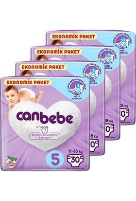 Canbebe Bebek Bezi 5 Beden Junior Aylık Ekonomik Paket 4x30'lu 120 Adet
