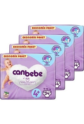 Canbebe Bebek Bezi 4+ Beden Maxi + Aylık Ekonomik Paket4 x 34'lü 136 Adet