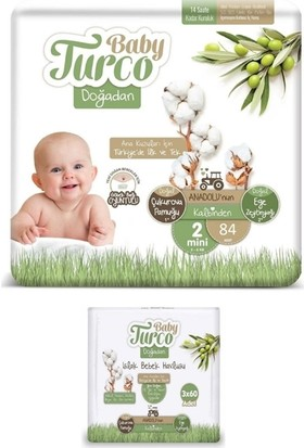 Baby Turco Doğadan 2 Numara Bebek Bezi 3-6 kg 84 Adet + Islak Havlu 3X60