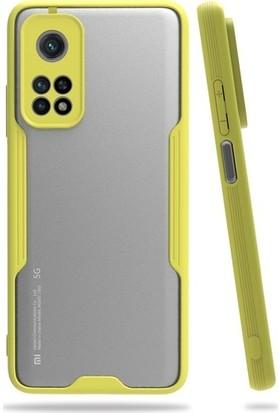 Mobicas Xiaomi Mi 10T Pro Kılıf Renkli Silikon Kenarlı Buzlu Parfe Kapak+Cam Ekran Koruyucu Sarı
