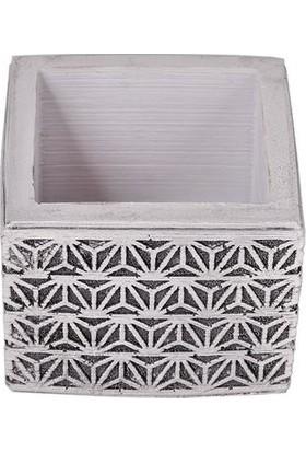 Flovart Dantel Motif Dekoratif El Yapımı Özel Tasarım Küp Saksı - Beyaz