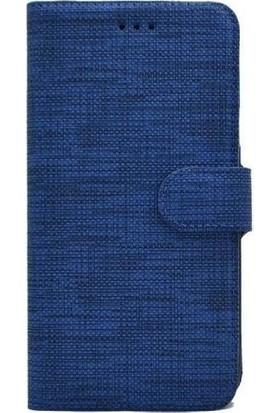 Milat Samsung Galaxy A7 2018 Kılıf Cüzdan Kapaklı Kartlıklı Kumaş Mavi
