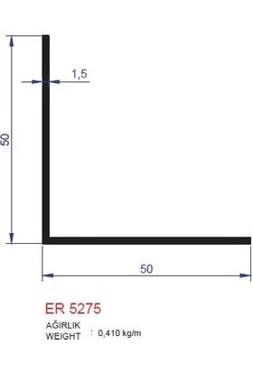 Ersaş Alüminyum '' L '' 50 x 50 mm Köşebent Profili Er 5275 Eloksal Inox Parlak 1 Metre x 6 Adet