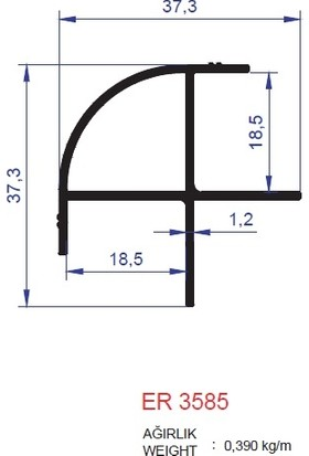 Ersaş Alüminyum Mağaza Raf Profili Er 3585 Mat Eloksal 3 mt 1'li