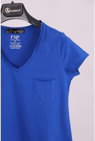 Aclassics Indigo V Yaka Cep Detaylı Yarım Kollu Slim Fit Pamuk T-Shirt