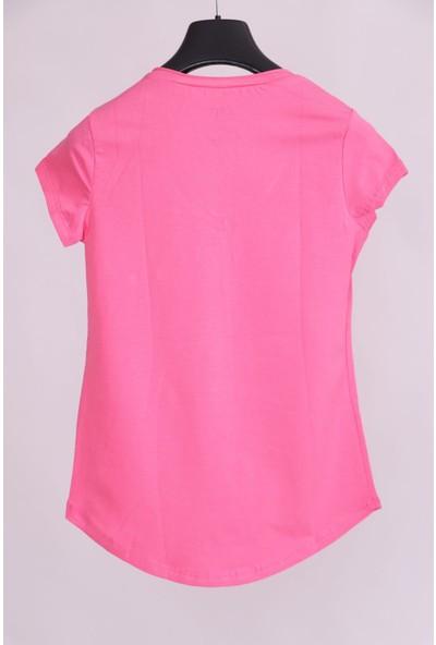 Aclassics Pembe V Yaka Cep Detaylı Yarım Kollu Slim Fit Pamuk T-Shirt