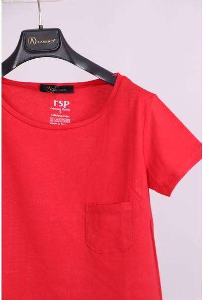 Aclassics Kırmızı Oval Yaka Cep Detaylı Yarım Kollu Salaş Pamuk Kısa T-Shirt