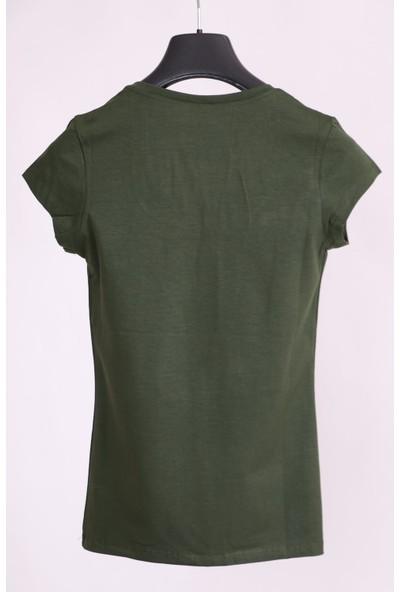 Aclassics Haki U Yaka Yarım Kollu Pamuk Slim Fit T-Shirt