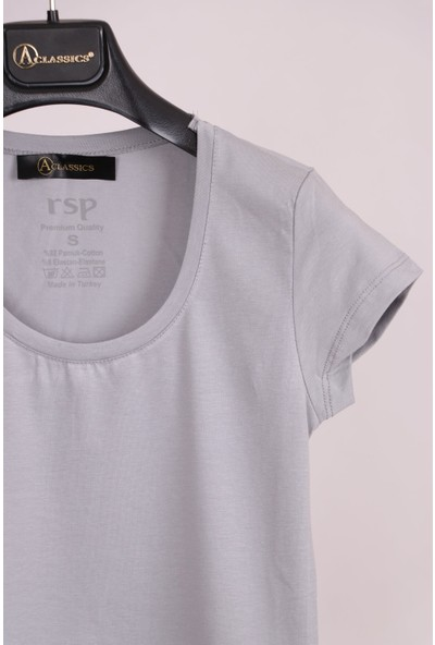 Aclassics Gri U Yaka Yarım Kollu Pamuk Slim Fit T-Shirt