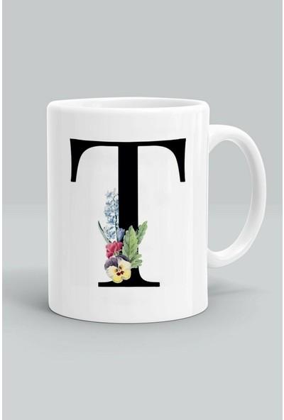 Kupacı Abla T Harfi Çiçek Desenli Baskılı Kupa