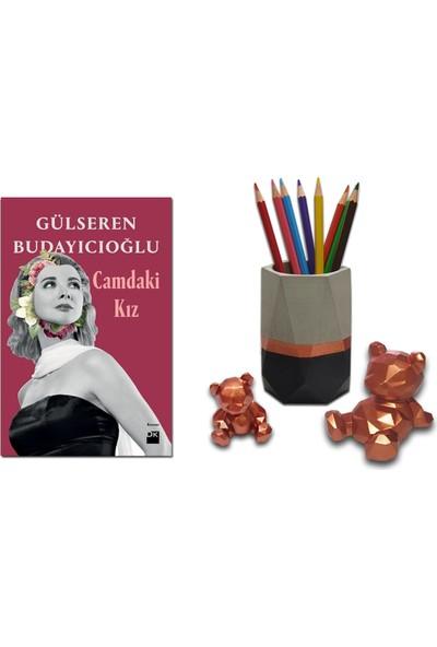 Camdaki Kız / Gülseren Budayıcıoğlu + Betonsu Tasarım Geometrik Beton Kalemlik + 2li Beton Ayıcık Seti (Bakır Renk)
