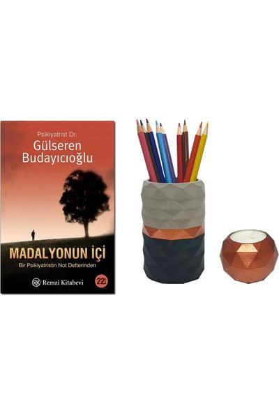 Madalyonun Içi / Gülseren Budayıcıoğlu + Betonsu Tasarım Beton Kalemlik + Geometrik Model Beton Tealight Mumluk (Bakır Renk)