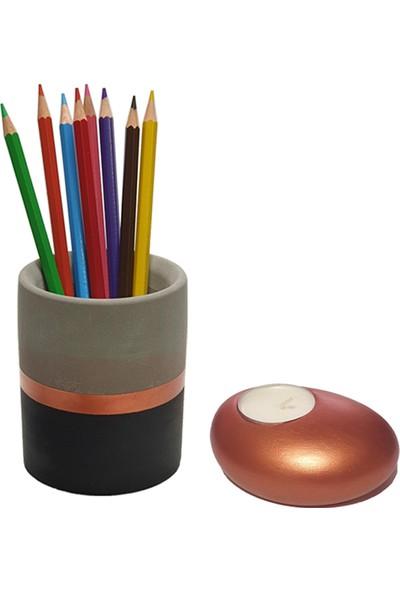 Madalyonun Içi / Gülseren Budayıcıoğlu + Betonsu Tasarım Beton Silindir Kalemlik + Taş Model Beton Tealight Mumluk (Bakır Renk)