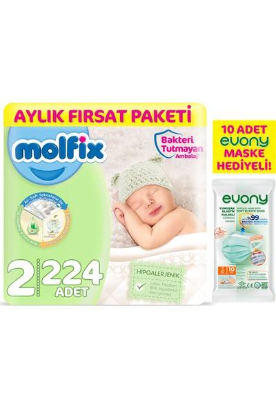 Molfix Bebek Bezi 2 Beden Mini Aylık Fırsat Paketi 224'LI + Evony Maske 10'lu