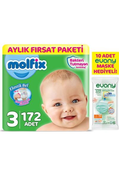 Molfix Bebek Bezi 3 Beden Midi Aylık Fırsat Paketi 172 Adet + Maske 10lu Hediye