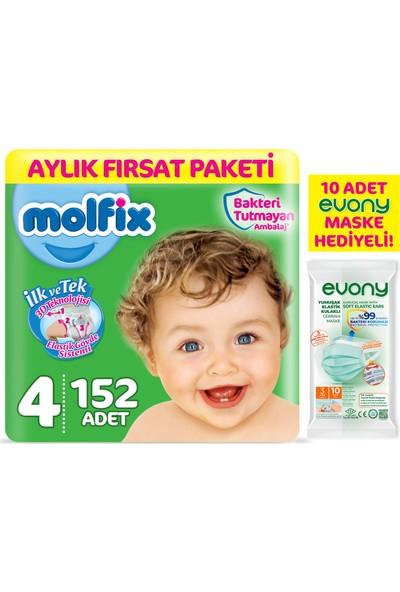 Molfix Bebek Bezi 4 Beden Maxi Aylık Fırsat Paketi 152'LI + Evonj Maske 10'lu