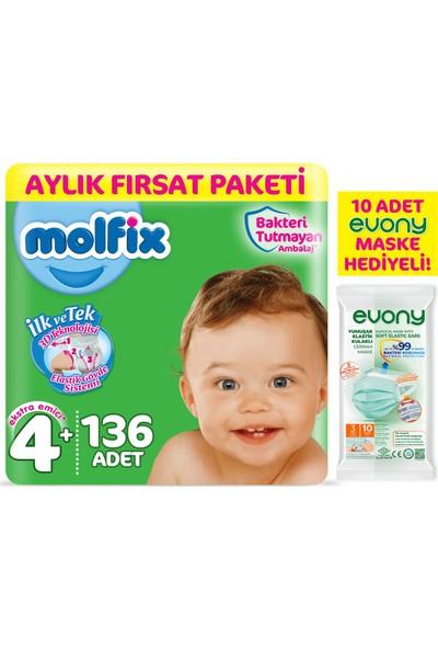 Molfix 3D Bebek Bezi Beden 4+ Maxiplus Aylık Fırsat Paketi 136'LI + Evony Maske 10'lu