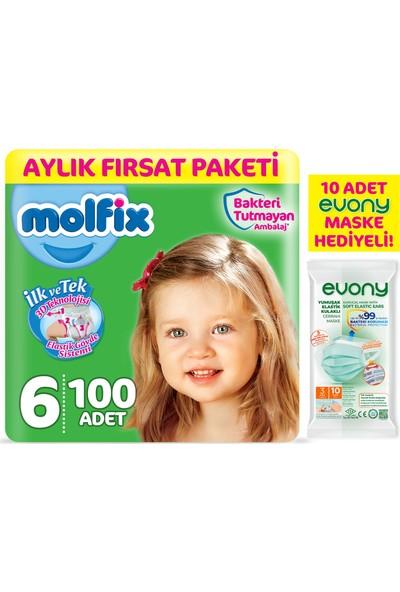 Molfix Bebek Bezi 6 Beden Ekstra Large Aylık Fırsat Paketi 100'LÜ + Evony Maske 10'lu