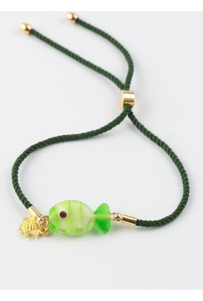 Adamodart Yeşil Balık Cam Bileklik