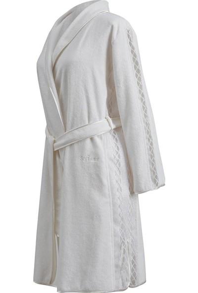 Soft Cotton Selya Şalyaka Bornoz Beyaz M