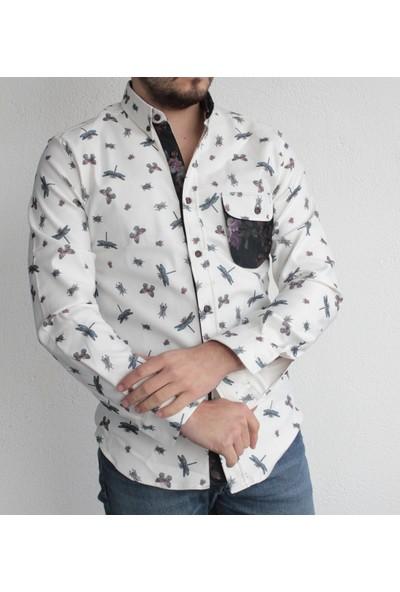 Baykim Erkek Beyaz Kelebek Desenli Slim Fit Basic Gömlek