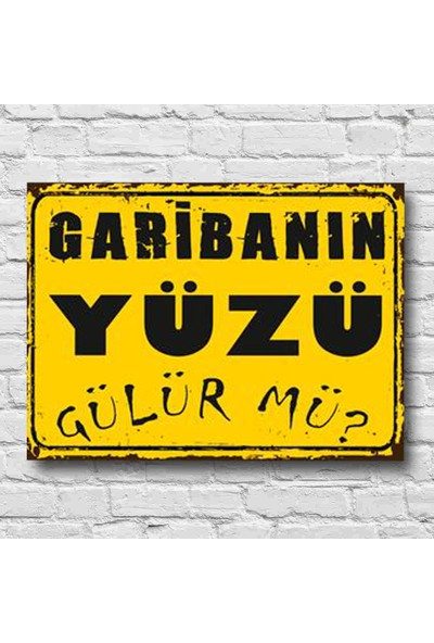 Afili Garibanın Yüzü Gülür Mü Yazılı Poster Ahşap 22 x 30 cm