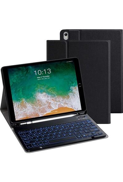 Turotto Apple iPad Air 4 2020 10.9 Inç A2324 A2072 Seri Bluetooth Özellikli Klavyeli Kılıf-Akıllı Şarja Uyumlu Siyah
