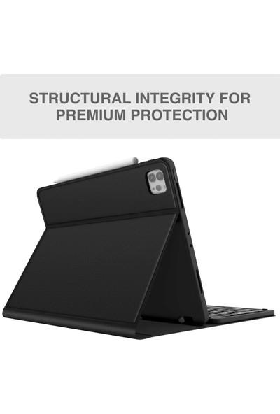 Turotto Apple iPad Pro 11 2020 3 Kameralı A2068 A2230 Seri Bluetooth Özellikli Klavyeli Kılıf- Akıllı Şarja Uyumlu Siyah