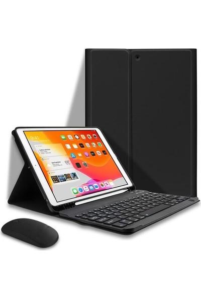 Turotto Apple iPad 7. Nesil 10.2 A2200 A2197 A2198 A2270 Seri Bluetooth Özellikli Klavyeli Kılıf + Bluetooh Mouse Siyah