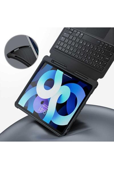Turotto Benks Apple iPad 7. Nesil 10.2 A2200 A2197 A2198 A2270 Seri Toucbar ve Bluetooth Özellikli Klavyeli Kılıf Siyah