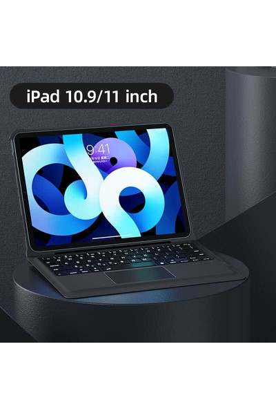 Turotto Benks Apple iPad Pro 11 2018 A1979/80 A2013 A1983 Seri Toucbar ve Bluetooth Özellikli Klavyeli Kılıf Siyah