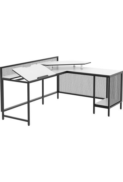 Yasmak Tel Kafes Detaylı L Masa - Çizim, Bilgisayar ve Çalışma Masası