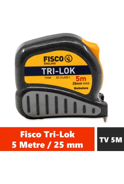 Fisco Tri-Lok | 5 Metre / 25 mm Çelik Şerit Metre | Tv 5m